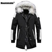Moutainskin 겨울 남성 코트 모피 후드 롱 코튼 자켓 남성 캐주얼 파카 패션 두꺼운 따뜻한 코트 남성 브랜드 의류 sa611