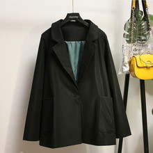 Large size womens XL-5XL autumn and winter new ladies jacket suit Casual large pocket long black blazer high quality