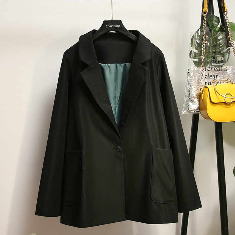 大サイズの女性の XL-5XL 秋と冬の新女性のジャケットのスーツカジュアル大ポケットロング女性の黒ブレザー高品質