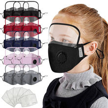 8Pcs Children Face Covers with 16Pcs Activated Carbon Filters Washable and Reusable Face Bandanas with Breathing Valve and Replaceable Filters