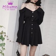 Robe noire Sexy à bretelles, taille haute, Style Punk, Mini robe à manches longues, épaules dénudées, S-4XL