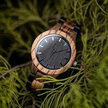 BOBO BIRD reloj de madera para hombre, pulsera de madera de ébano y nogal, de cuarzo, masculino