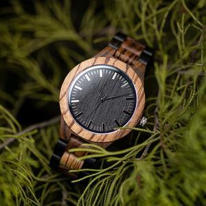 Image 1 - ボボ鳥ウッド腕時計メンズクルミ黒檀木製ストラップクォーツ腕時計男性 erkek kol saati 御代田ギフトレロジオ masculino