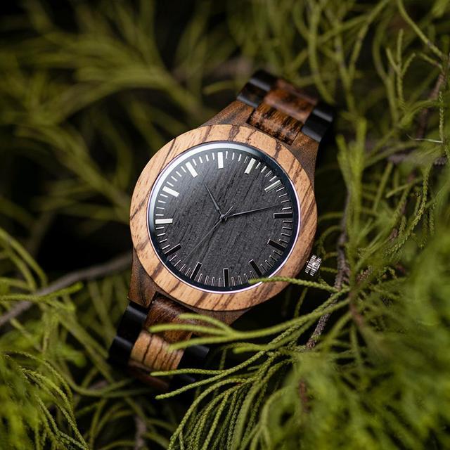 ボボ鳥ウッド腕時計メンズクルミ黒檀木製ストラップクォーツ腕時計男性 erkek kol saati 御代田ギフトレロジオ masculino