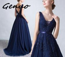 Genuo New Sexy V-neck Dress Robe De Soiree 2019 High Quality Grey Tulle With Applique Dresses Real Photo Vestido De Festa цена и фото