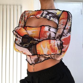 2021 lato kobiety koszula z długim rękawem Mesh wydrukowano Sexy otwór z przodu topy jasne linia dekoracji O Neck Slim panie koszule tanie i dobre opinie APRIL MODA REGULAR Mesh Fabric CN (pochodzenie) POLIESTER spandex SHORT Jasny linia dekoracji tops Z KRÓTKIM RĘKAWEM Pełne