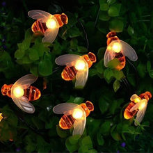 Solar Light Cute Bee Led String Fairy Light 20leds 50leds Bee Christmas Decoration for Home Fence Patio Christmas Garland Lights(China)