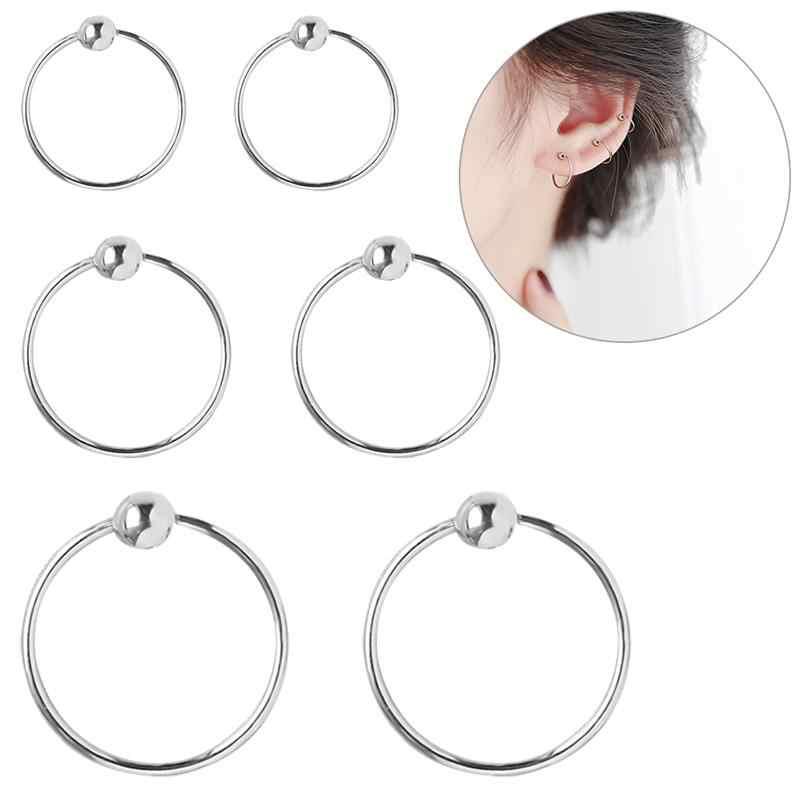 Par Estampado de plata esterlina 925 Redondo Pequeño Para Mujer Hombre Plata Esterlina durmiente