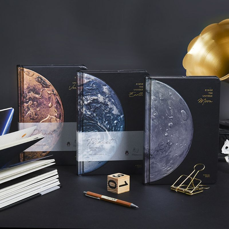 Student Stationery Beautiful Universe Hard Cover Lined Papers Notebook Starry Sky Journal Diary Notepad Boys Mens Gift Planners     - title=