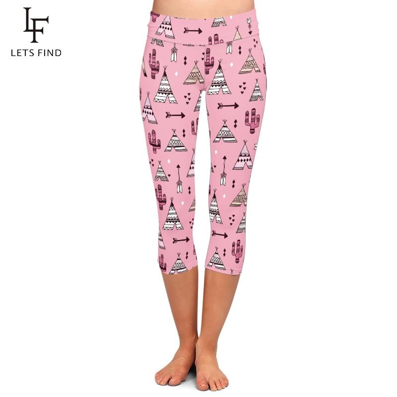 LETSFIND Summer Fashion Pink Teepee Tent And Cactus Botanical Print Women Leggings High Waist Plus Size Elastic Capri Leggings