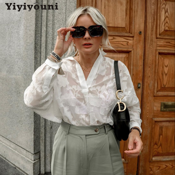 Yiyiyoui Spring White Mesh Blouse Women Long Sleeve V-neck Hollow Out Shirt Women Office Lady Loose Transparent Tops Female 2021 1