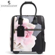 SC модная багажная металлическая Дорожная сумка на колесиках, чемодан с цветочным принтом на колесиках, сумка для багажа, рулетки, ручная тележка, доска, шасси, посылка