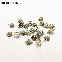 Chegada de novo! 15x10mm 100 pces ab strass garra corrente forma redonda conectores para colar, brincos peças, feito à mão jóias diy