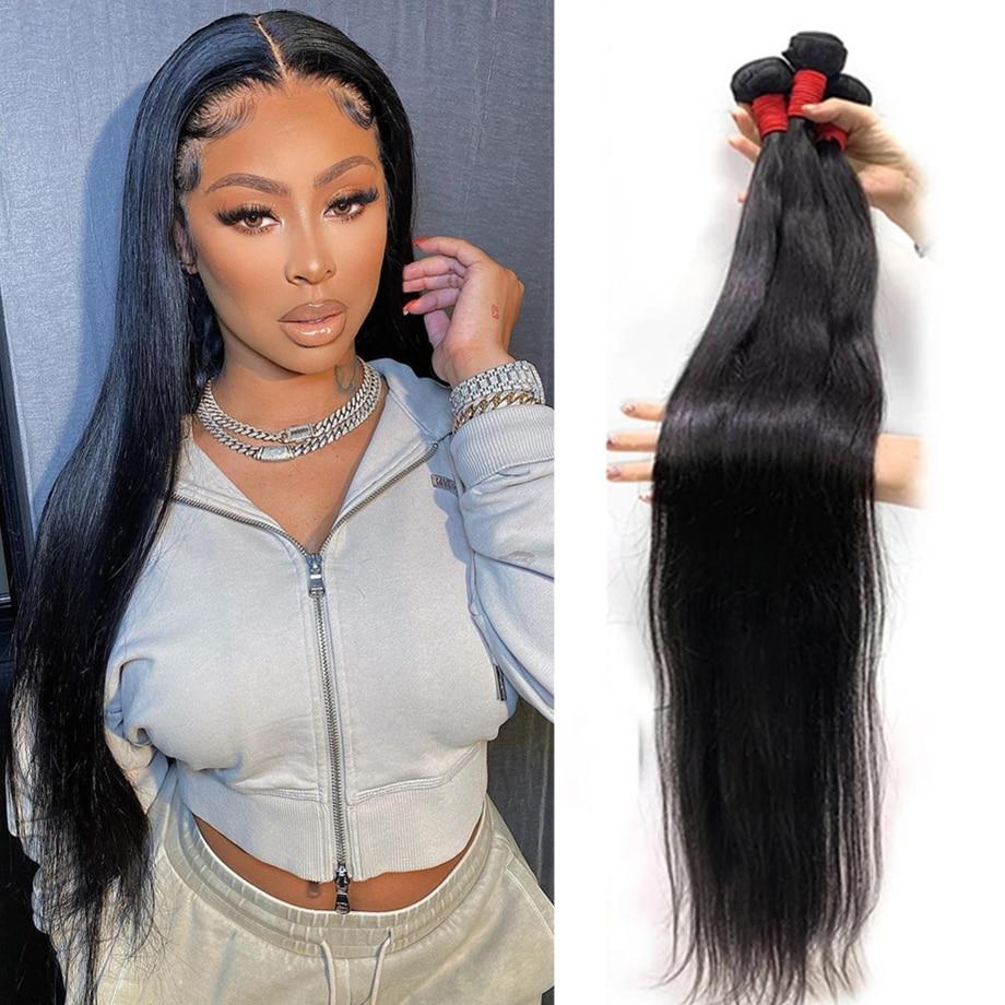 30 дюймов прямые волосы пряди 100% человеческие волосы пряди бразильских волос Плетение из двойной уточной нити 3 4 пряди наращивание волос нат...