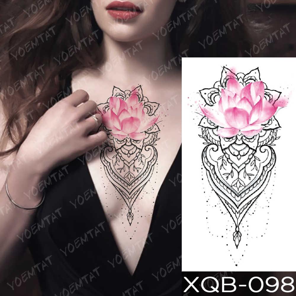 Tatuagem temporária à prova dwaterproof água adesivo laço rosa flores lótus flash tatuagens lobo lua cobra corpo arte braço falso manga tatoo mulher