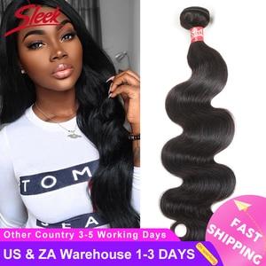 Image 1 - Sleek Brazilian Hair Weave Bundles 8   28 30 Inch Brazilian Body Wave Non Remy Human Hair Extension 1/3/4 Bundle Deals Free Ship
