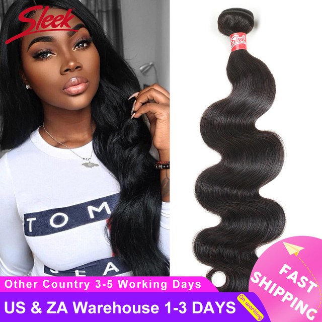 Sleek Brazilian Hair Weave Bundles 8   28 30 Inch Brazilian Body Wave Non Remy Human Hair Extension 1/3/4 Bundle Deals Free Ship