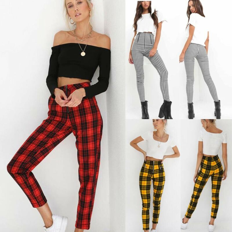 ❤️Women Plaid High Waist Zip Pencil Pants Ladies Casual Skinny Trousers Jeggings