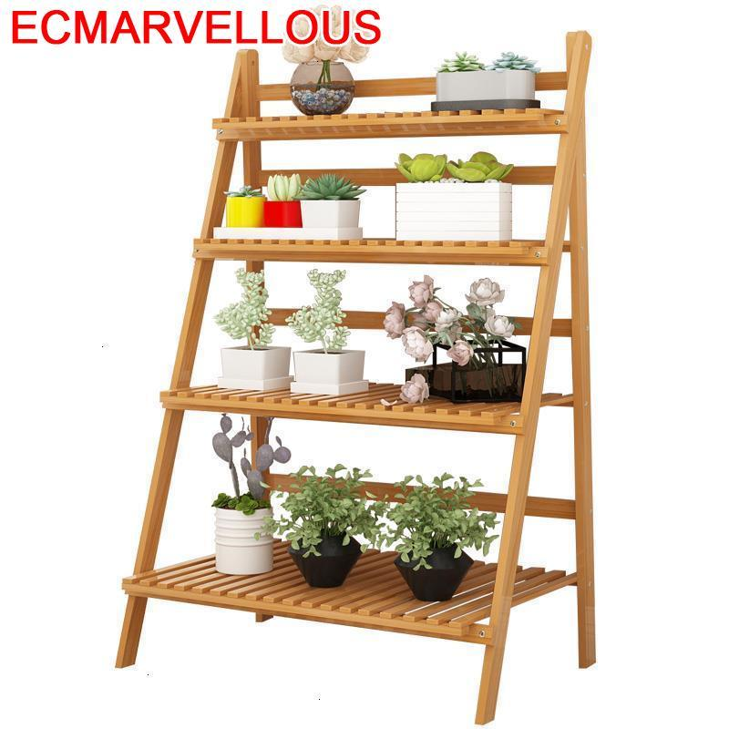 Pot Plantenstandaard Balkon Repisa Para Plantas Wooden Shelves For Balcony Shelf Outdoor Flower Rack Dekoration Plant Stand