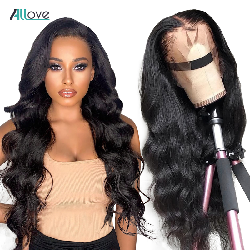 Allove Body Wave Human Hair Wig Malaysian Lace Front Wig For Women Pre Plucked Lace Front Human Hair Wigs 360 Lace Frontal Wig