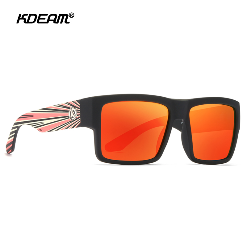 KDEAM Square Polarized Sunglasses Men Soft Matte Frame Tank Hinge Sun Glasses Driving Exclusive Design Oculos De Sol