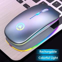Ładowalna mysz bezprzewodowa cicha podświetlenie LED myszy optyczne USB ergonomiczna mysz do gier komputer stancjonarny Mause na komputer stacjonarny