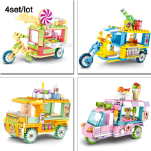 4sets/lot Ice cream truck,Candy mobile store,Drink food stall legoingly City Mini Street View Building Block Toys For Children