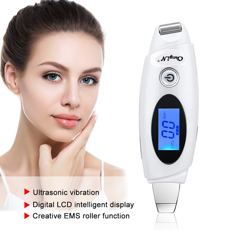 2 In 1 Ultrasonic Facial Skin Scrubber Roller Massager Ion EMS Ultrasound Face Deep Cleaning Exfoliating Peeling Pore Cleanser45