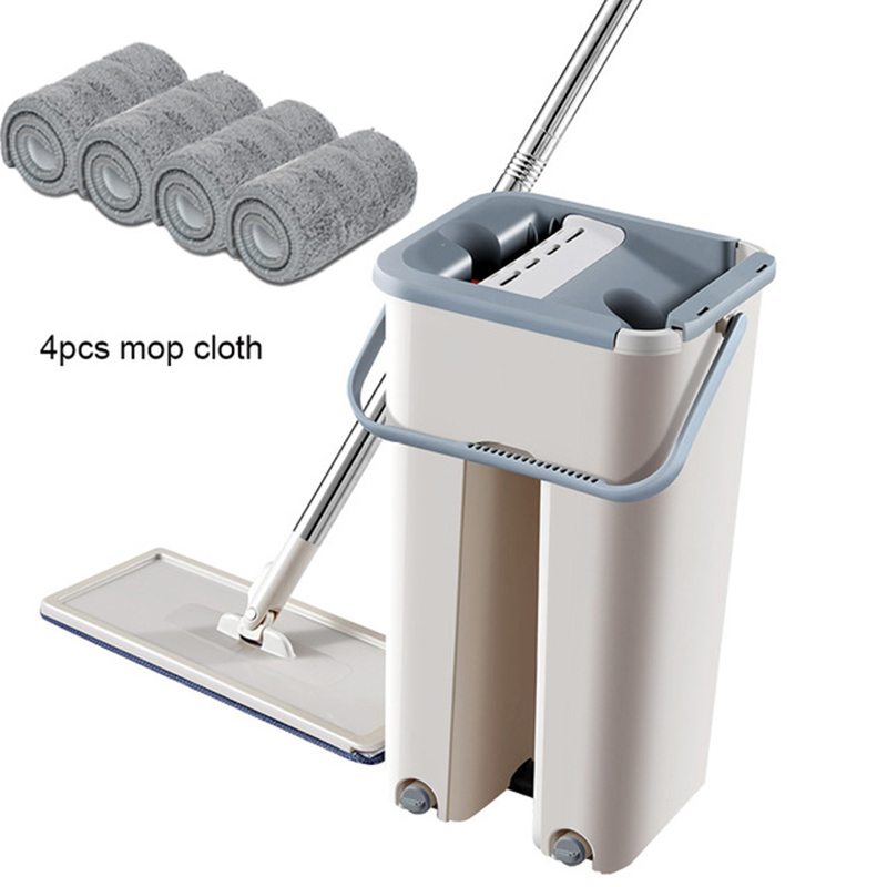 Mop Microfiber Squeeze Floor Mops Wet Mop with Bucket Cloth Squeeze Cleaning Bathroom Mop For Wash Floor Home Kitchen Cleaner