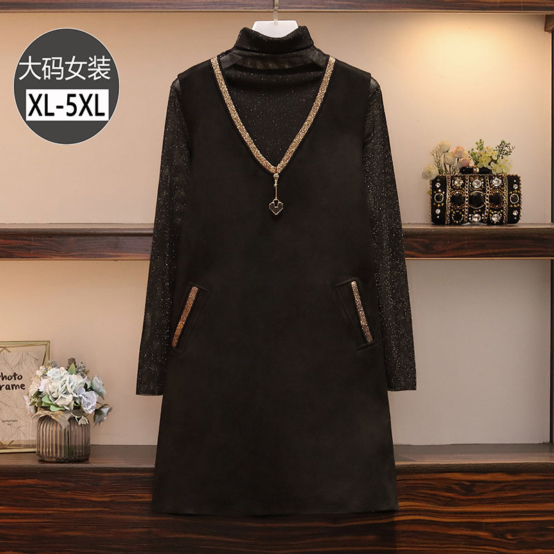2019 Autumn And Winter New Style Large Size Dress Fat Mm Extra-large Fashion Slimming High Collar Microlens Base Shirt Vest Dres