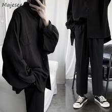 Conjuntos para hombre negros de manga larga con una hilera de botones, moda coreana informal, conjunto para hombres, sólido, holgado, Harajuku Ins Bf Ulzzang