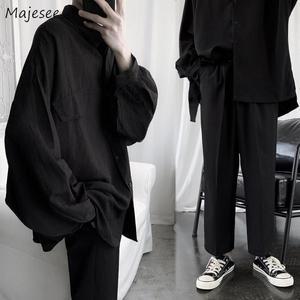 Мужской комплект, черный, длинный рукав, однобортный, весна, корейская мода, для отдыха, шикарный, мужской комплект, однотонный, свободный, дл...