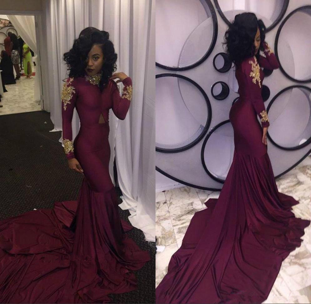 Fashion Women Wine Red Prom Dresses 2019 Sexy South African Gold Appliques Burgundy Long Formal Evening Gown Custom Prom Dress