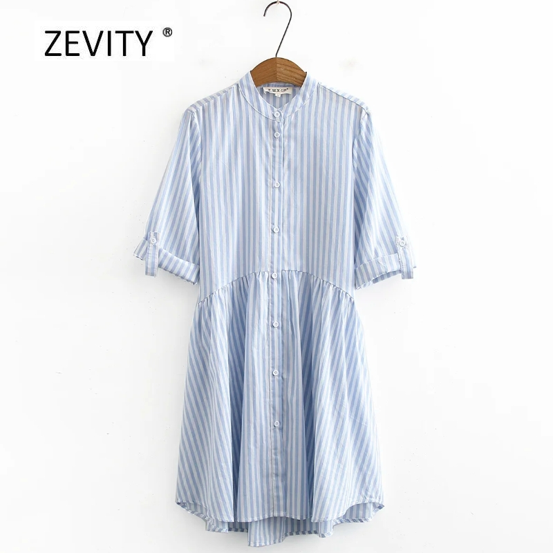 Zevity women vintage stand collar striped casual loose shirt dress female breasted roll up sleeve vestido chic dresses DS4060