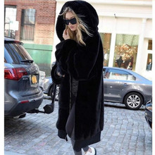 Coat Jacket Oversized Faux-Fur Solid-Color Outwear Hooded Women Fur Long Winter New Warm