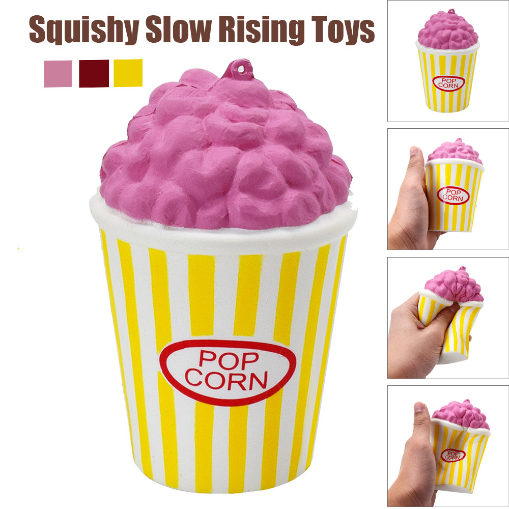 PU Popcorn Cup Squishy Slow Rising Decompression Easter Phone Strap Squeeze Toy Gift Toys Stress Relief Toy @A