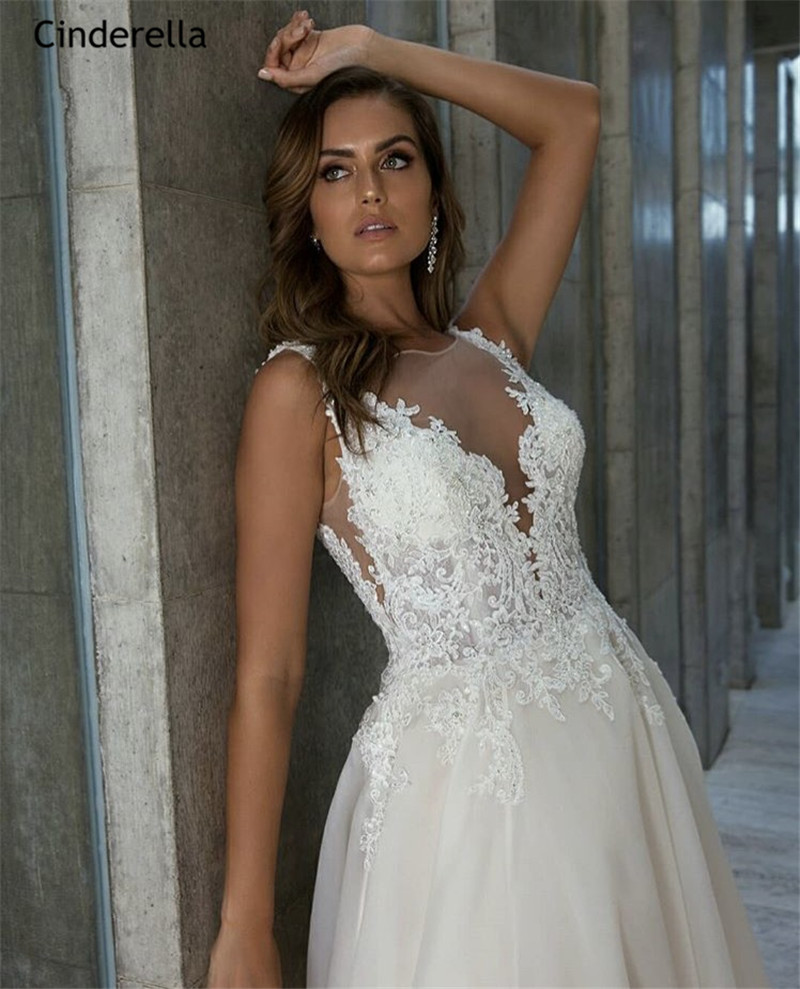 Cinderella Backless V Neck Sleeveless A Line Court Train Soft Tulle Lace Applique Crystal Wedding Dresses vestido de noiva in Wedding Dresses from Weddings Events