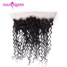 HALOQUEEN Hair Brazilian Deep 100% Human Lace Front Closure 13*4 With Baby Nature Color Remy For Lady 6-20inch
