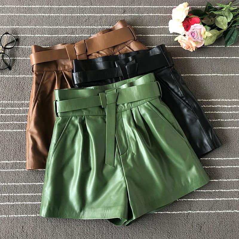 Pantalones de cuero de la correa de las mujeres del estilo europeo 2019 Otoño/Invierno de alta calidad de cuero genuino de la cintura ancha- pantalones cortos de pierna B084