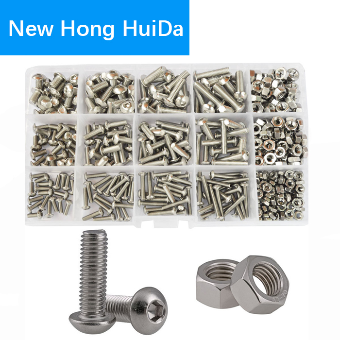 Bolt Head-Cap Assortment-Kit-Set Screw-Nut Button-Socket Metric Hexagon 304-Stainless-Steel