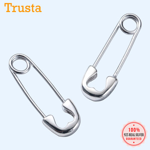 Trustdavis 1Pair Paper Clip Shape Ear Buckle Earring Creative New Design Lady Madam Women 925 Sterling Silver Jewelry DA381