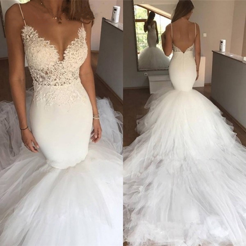 Sexy Backless Vintage Lace Mermaid Wedding Dress Cathedra Train Spaghetti Straps V-Neck Appliques White Tulle Bride Dresses 2020