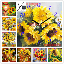 rhinestone pictures 5d diamond mosaic sale clock sunflower diy diamond painting 5d and clock flower decor home wall sticker