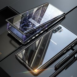 360 capa protetora de corpo inteiro para samsung galaxy note 10 plus pro note10 alumínio metal magnético pára-choques duplo lado vidro cobre