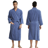 Winter Cotton Bathrobe Men Nightwear Soft Men Kimono Robe Thick Home Clothing Warm Sleepwear Pocket Bathrobe Nightdress Negligee