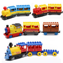 Marumine Battery Operated Duplo Train Blocks Toys with Light Sound Electric Building Bricks Railway Part Brithday Gift for Kids
