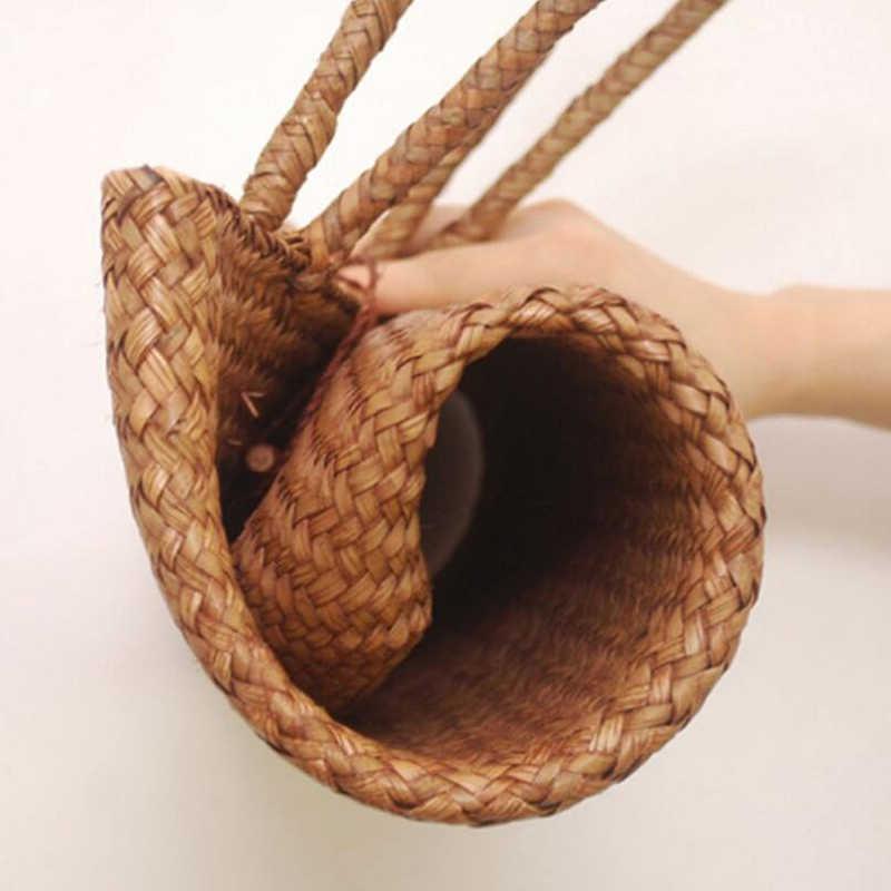 Verano Casual mujer paja compras bolsas mimbre hecho a mano cesta compras Bolso grande de hombro bolso de las señoras Hasp bolsas