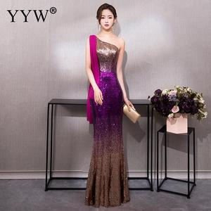 Image 4 - Luxury Gradient Sequined Mermaid Dress Sexy V Neck Prom Dress Women Fashion Formal Party Gowns Zipper Back Trumpet Evening Dress
