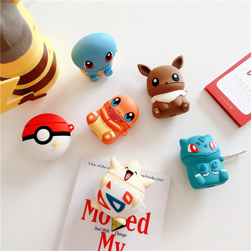 Bluetooth Earphone Case For Airpods Cute Silicone Protective Cover For Airpods2 Accessories Keychain Charmander Togepi Bulbasaur