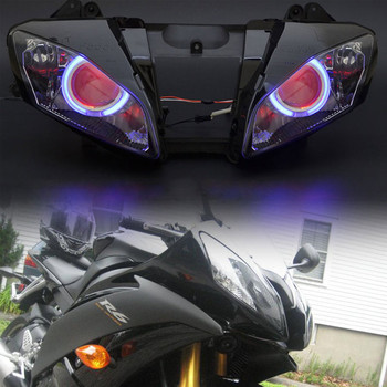 Motorcycle Custom Headlight Assembly For Yamaha YZF R6 2008-2015 Blue Angel Red Demon Eyes HID Projector Headlamp image